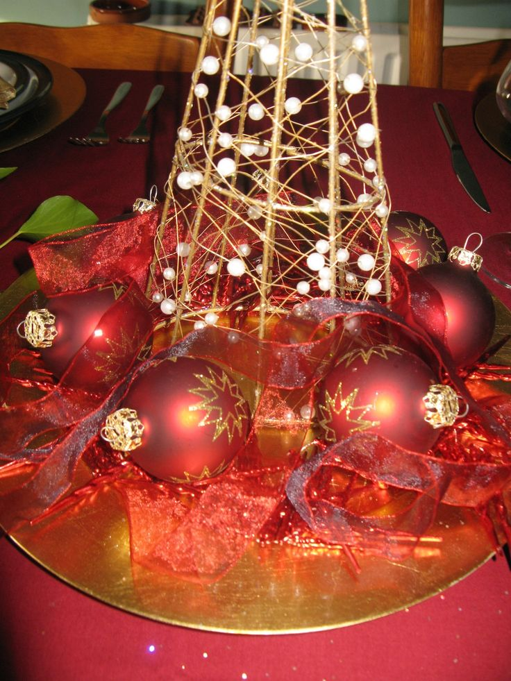 Here i am using baubles, fairy lights and a tree angel, arranged on a golden plate to create a lovely centre piece. Matching ribbon is just simply arranged around.