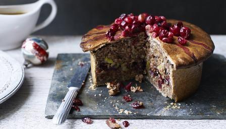 Christmas recipe - vegetarian nut roast pie with cranberries.