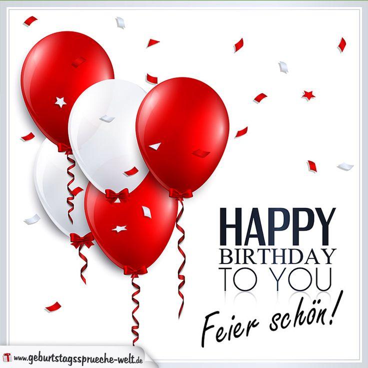 """Wünsche mit dieser schlichten Geburtstagskarte mit roten und weißen Luftballons und dem Geburtstagsspruch """"Happy Birthday to you - Feier schön!"""" alles Gute"""