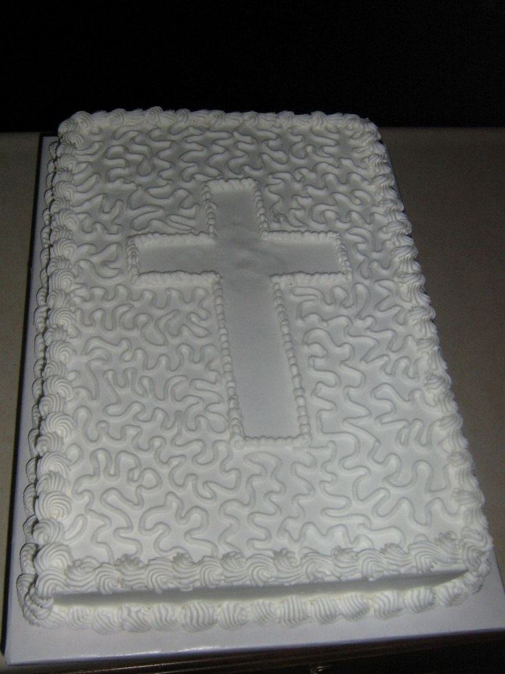 Baptism Cake - This is a 1/3 sheet cake with cornelli lace for the simple decoration.  They wanted a simple designed sheet cake for their celebration.  Thanks for looking.
