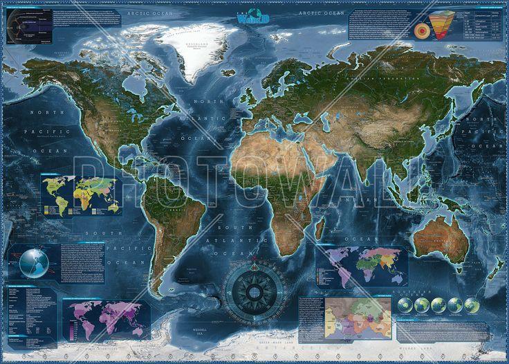 Satelite Map Infographic - Bilder auf Leinwand - Photowall