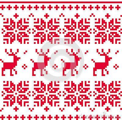 Christmas knitted pattern with reindeer