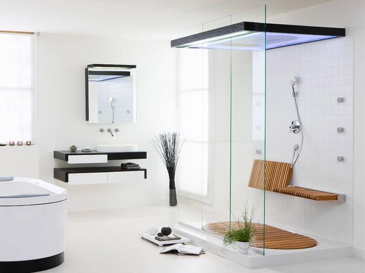 Уютный деревянный настил в душе или перед ванной. #сантехника #плитка #дизайн  http://santehnika-tut.ru/laminat/