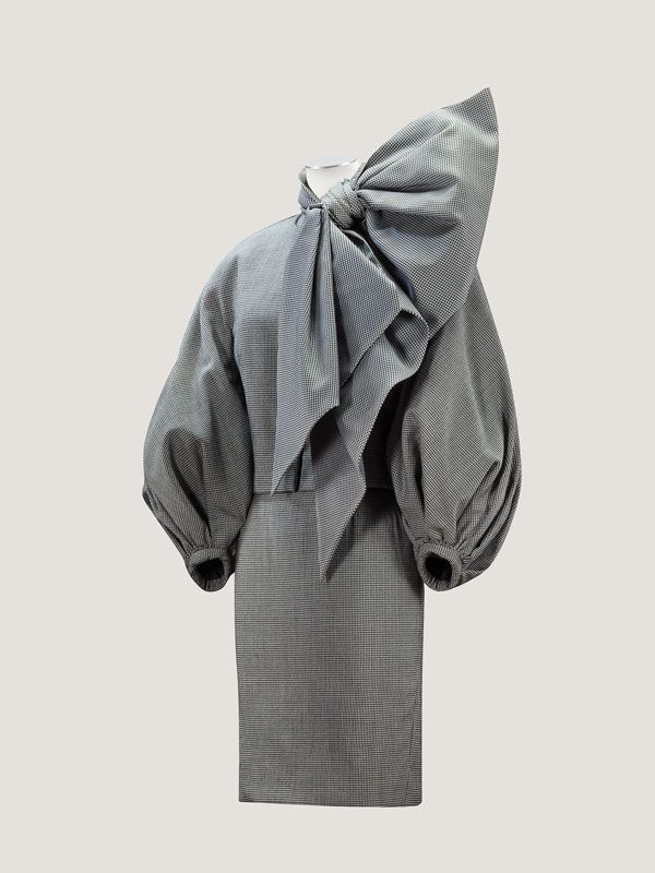 Christian Dior by Gianfranco Ferre Finely checked wool suit with large organza bow, F/W 1989-1990