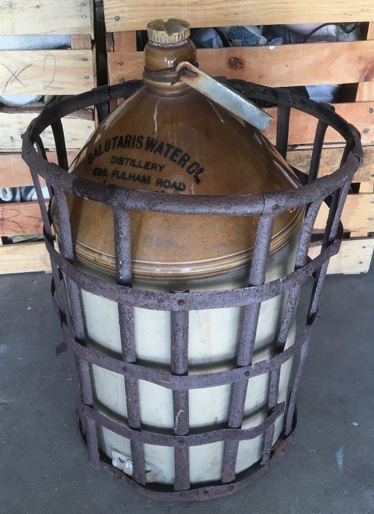 RARE Antique Salutaris STONEWARE JUG Distilled Water Metal Basket LONDON 1880 #French #Salutaris