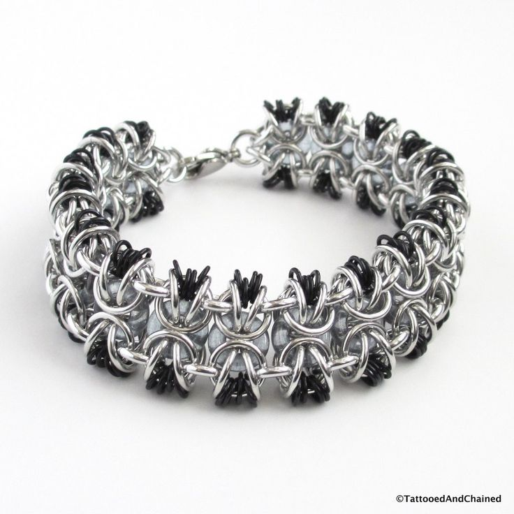 Glass chainmaille bracelet; gray, black and silver - Tattooed and Chained Chainmaille