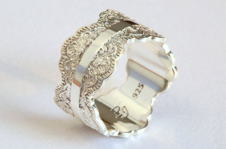 Unique Silver Wedding Band with Lace Texture, Wide Silver Ring, Silver Wedding Ring #weddingring