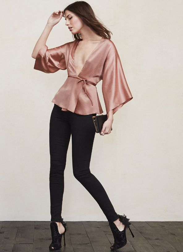 """The Janis Top is down if you are. This top is cut """"down to there"""" while still maintaining its elegant appeal. What could be better than being able to show off a little without feeling over exposed? https://www.thereformation.com/products/janis-top-daewa?utm_source=pinterest&utm_medium=organic&utm_campaign=PinterestOwnedPins"""