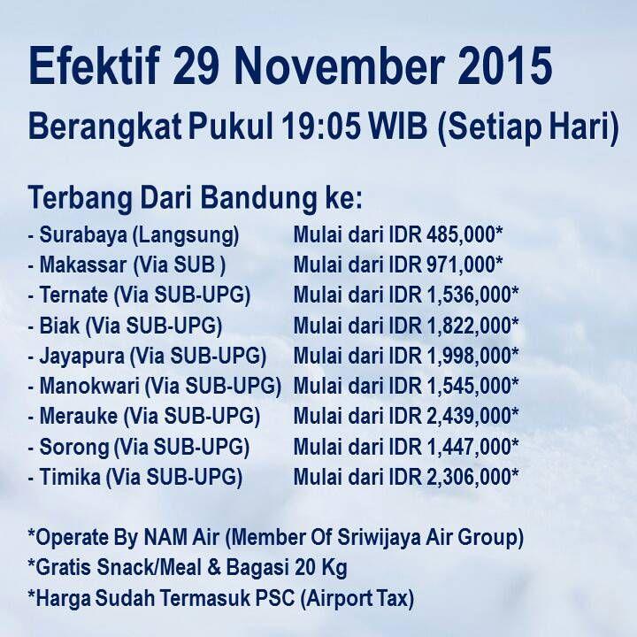 ** BANDUNG NEWS ** | Segera rencanakan perjalanan anda, mulai 29 Nov 2015 kami melayani penerbangan: Bandung – Surabaya ETD 19.05, Surabaya – Bandung ETD 17.05 | Dan terhubung dengan penerbangan dari/ke kota-kota lainnya. Pemesanan dan pembelian dapat melalui: www.sriwijayaair.co.id | 021-29279777 / 0804-1-777777 | Kantor penjualan Sriwijaya Air & NAM Air | Travel Agent kepercayaan Anda. Sriwijaya Air Group