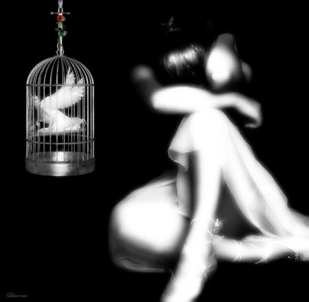 *Release my soul..* - sword, cage, angel, white, ballerina, sadness, shadow, fantasy, girl, sorrow, moments, feelings, black