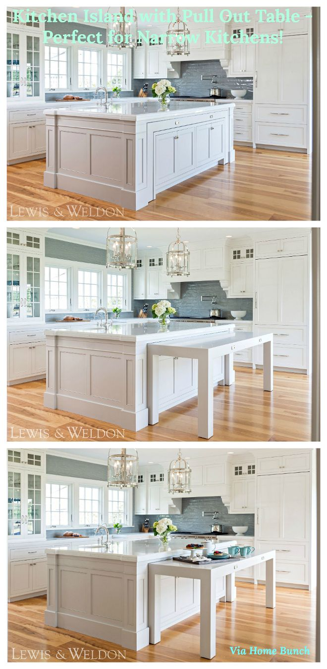 Kitchen Island With Pull Out Table Perfect For Narrow Kitchens Kitchenisland Kitchen Island With Sink Classic White Kitchen Kitchen Island With Stove