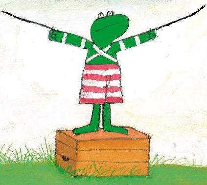 de kleuters mogen zelf vleugels tekenen voor kikker om hem te laten vliegen.