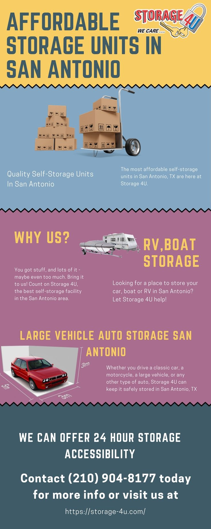Storage 4U offers a variety of cheap storage units in San Antonio, TX. Self Storage, Commercial Storage, Auto, RV boat storage & more! Our storage facilities are available 24/7.