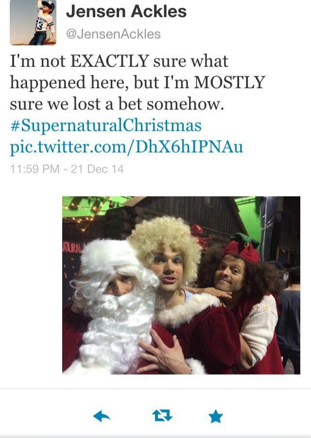 Jensen Ackles, Jared Padalecki & Misha Collins during the winter lol