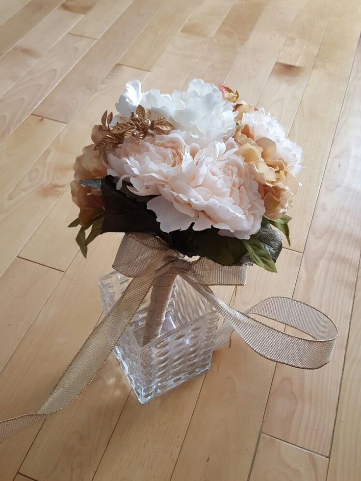 Peach White Gold accent bouquet perfect for fall wedding
