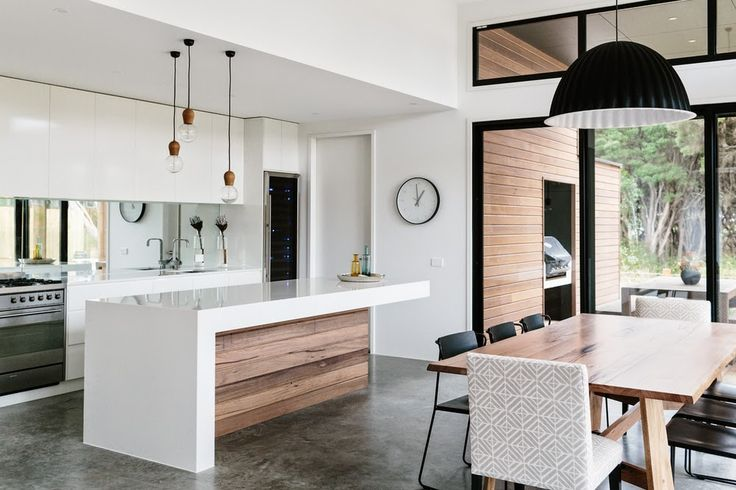 the materials that feature in this kitchen are polished concrete, set plasterboard painted ceiling and timber cabinetry. much the same as the z house