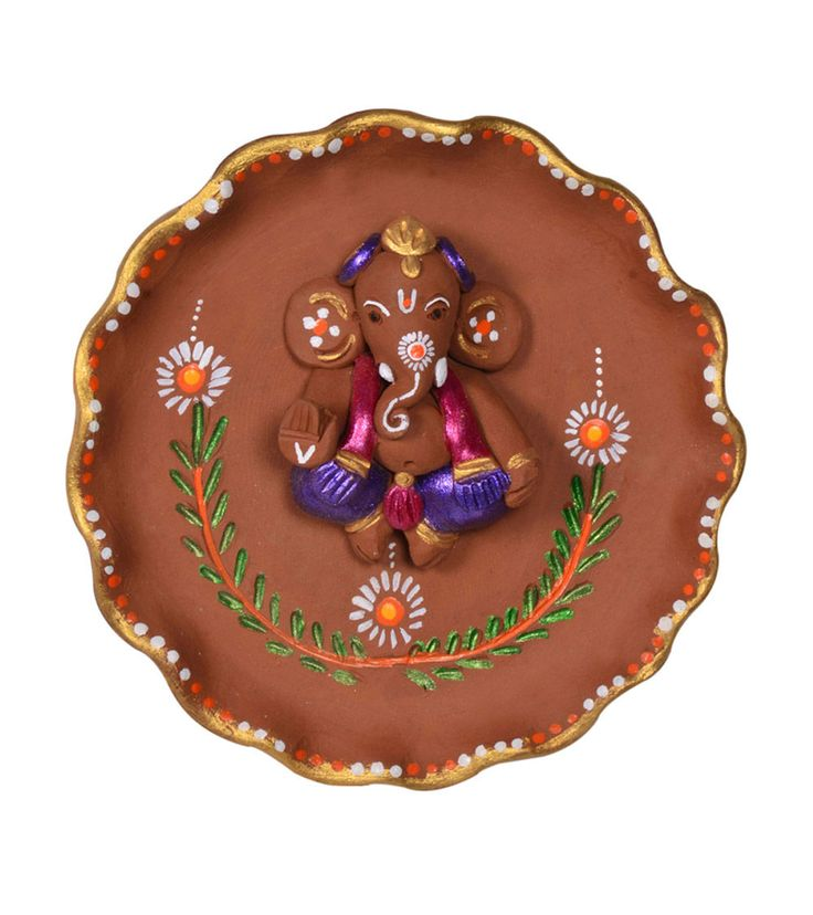 Hand Painted Terracotta Plate Ganesha Wall Décor