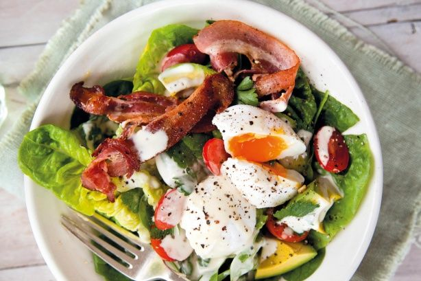 """""""This salad takes bacon and eggs to a new level with fresh leaves, tomatoes, avocado, and a creamy dressing. One of my favourites for weekend brunch."""" - Annabel Langbein"""