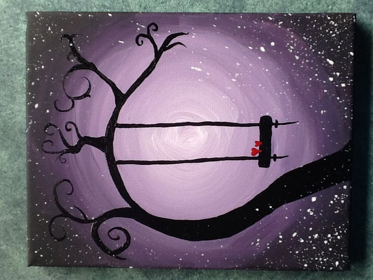 Easy acrylic painting - whimsical tree with a swing.