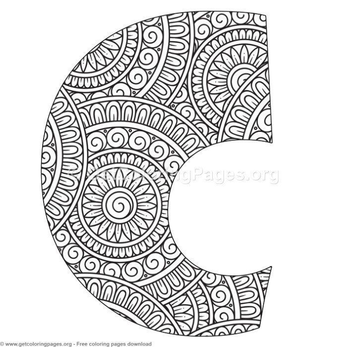 Mandala Alphabet Letters C Coloring Pages Free Instant Download Coloring Coloringbook Coloringpage Lettering Alphabet Letter C Coloring Pages Coloring Pages