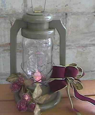 Rustic Primitive Wooden Jar Lantern Antique Green
