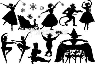 Nutcracker Ballet Silhouettes Royalty Free Stock Vector Art Illustration