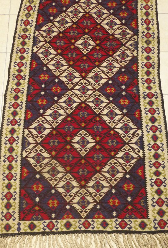 Turkish Kilim Rug, Decorative Handwoven Area rug, Gorgeous Ethnic carpet in red…