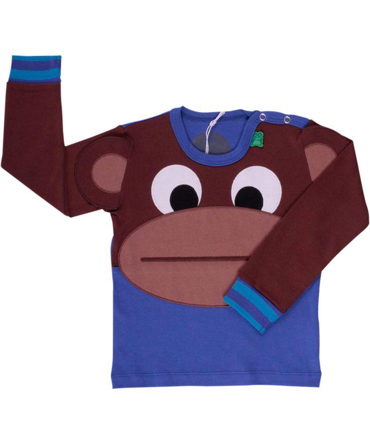 Super T-shirt bleu avec un gros singe par Fred's World. freds-world.fr.emilea.be