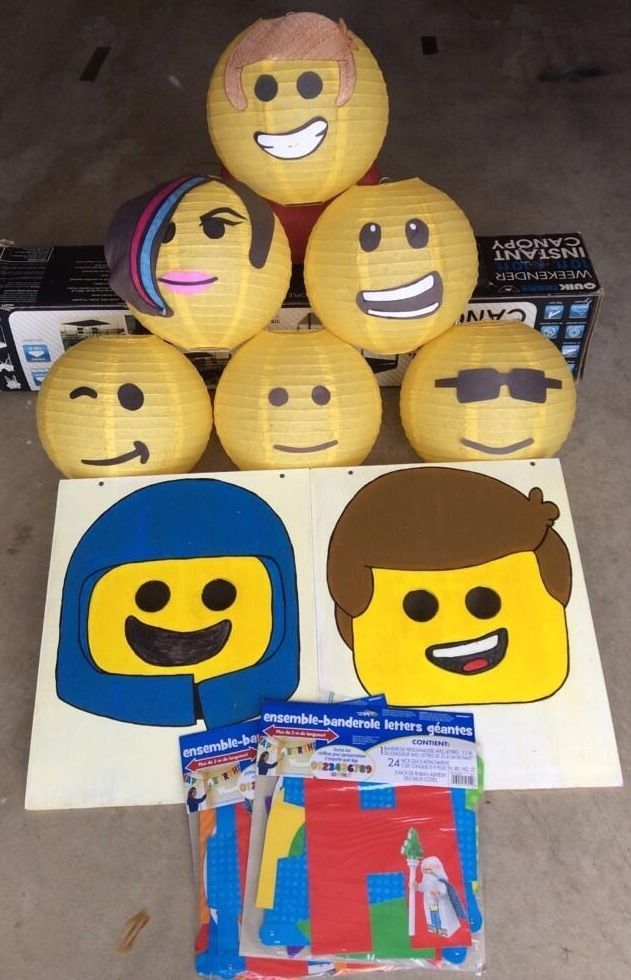 "LEGO MOVIE Party Decorations And Washer Toss Game HANDMADE ""Party In A Box"""