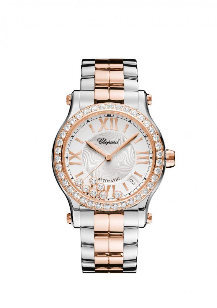 Orologio Happy Sport 36mm automatico oro rosa 18 carati, acciaio inossidabile e diamanti.