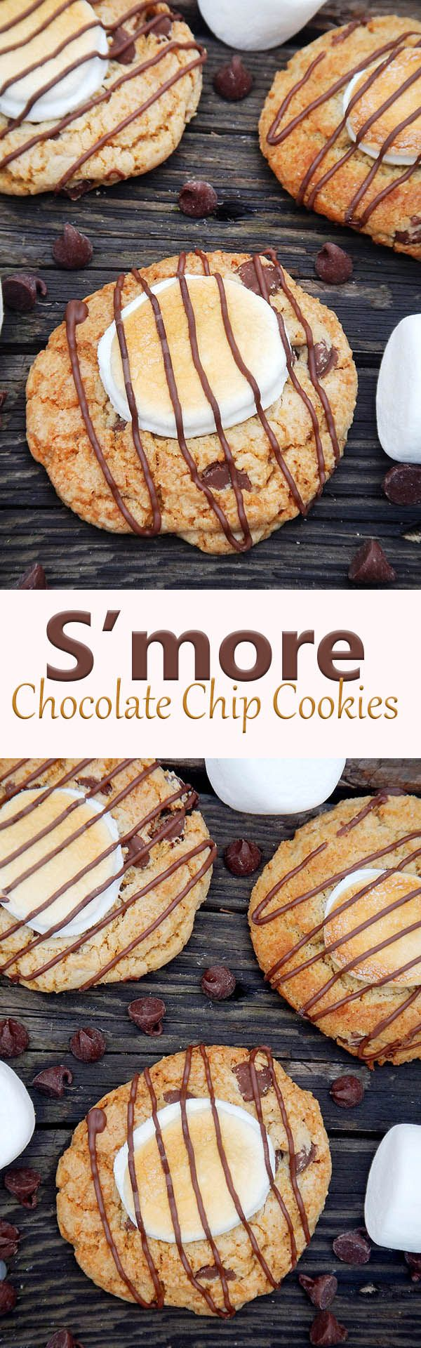 S'more chocolate chip cookies are soft graham cracker-based cookies packed with milk chocolate chips and topped with toasted marshmallows.  A perfect treat for when you want fireside flavor without the campfire.