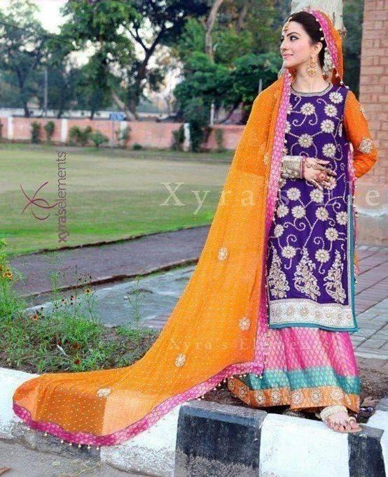 Pakistani Mehndi Dresses 2014 for Girls.