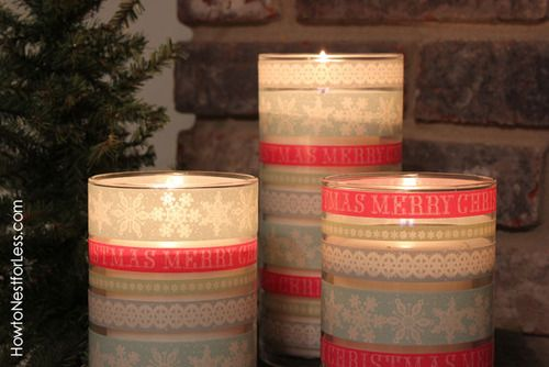 Washi Tape Candle Holders via How to nest for less
