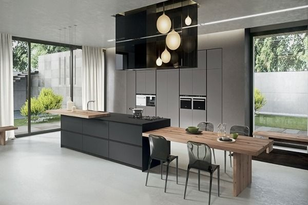 Cuisine Noire Et Bois Cuisine Noire Et Bois Credence Cuisine Noire Et Bois Ilot Cuisin Modern Kitchen Design Contemporary Kitchen Contemporary Dining Table