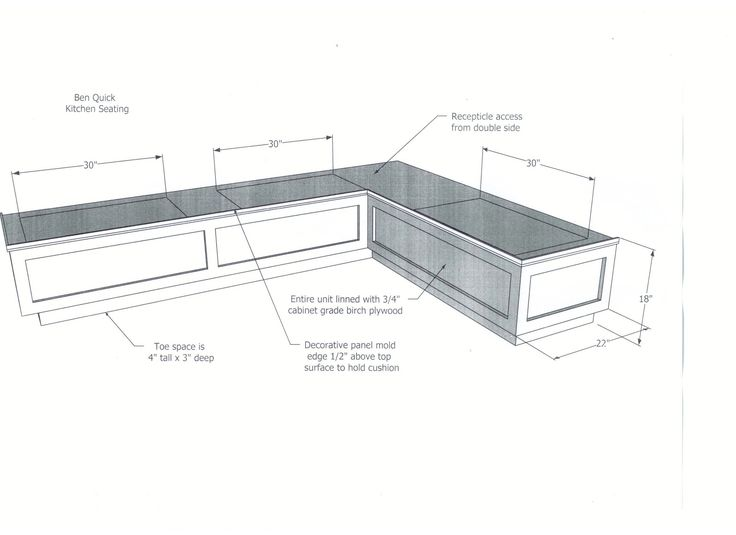 DIY wood breakfast nook bench dimensions plans with