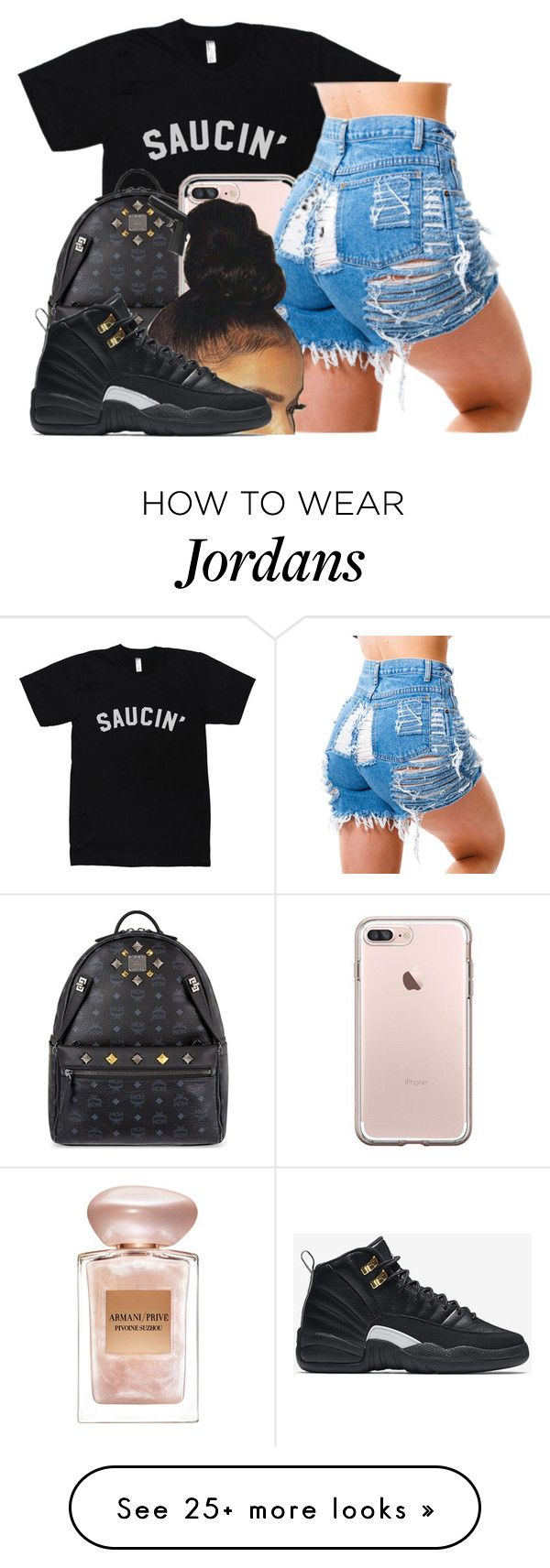 """""""Untitled #35"""" by justtynia on Polyvore featuring MCM, Giorgio Armani and NIKE"""