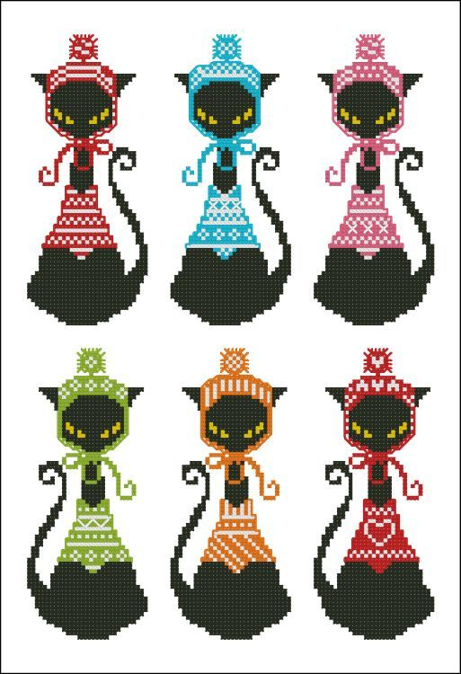 Mini Cross Stitch Pattern:				Black Cat Knits Bookmark						  Design Source:		Pinoy Stitch								  DMC Floss Colors:		8								  Stitch Count:	31	x	75		(Each Black Cat)					  Approximate Finished Size on Recommended Fabric:*										  	14	count 		=	2	w	x	5	h	Inches  	16	count 		=	2	w	x	5	h	Inches  	18	count 		=	2	w	x	4	h	Inches  	22	count 		=	1	w	x	3	h	Inches