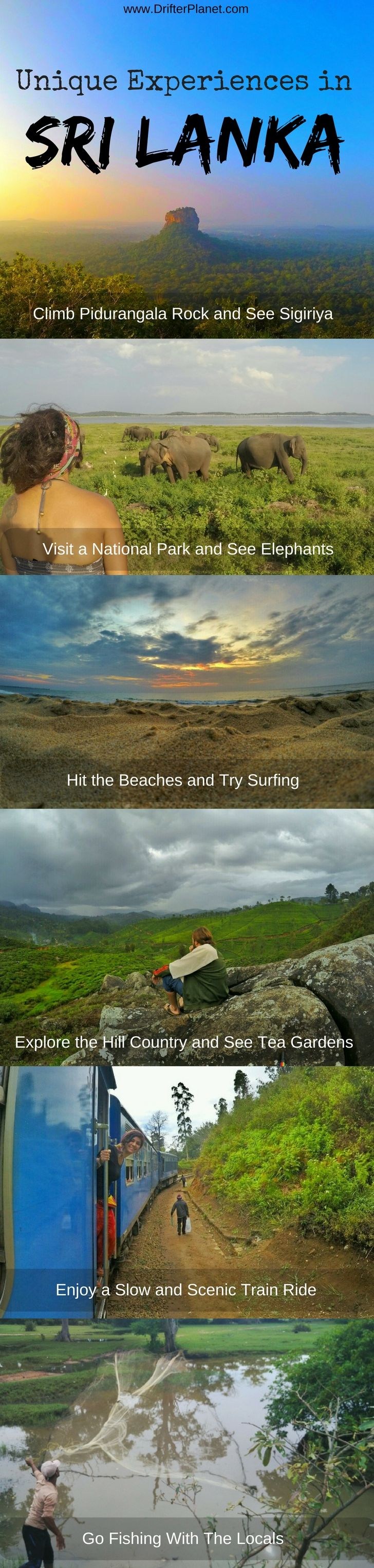 Unique experiences and things to do in Sri Lanka - one of the greenest countries. Amazing viewpoints, forest, hills, tea gardens, train rides, fishing, monkeys, elephants and more! Read the post to know more. - Drifter Planet