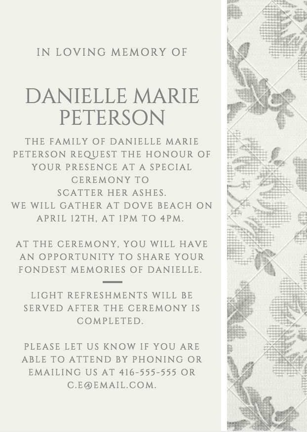 29 best Funeral Reception Invitations images on Pinterest - memorial service invitation template