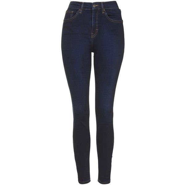 TOPSHOP MOTO Dark Ink Jamie Jeans ($70) ❤ liked on Polyvore featuring jeans, pants, ink, highwaisted jeans, high waisted stretch skinny jeans, high-waisted jeans, high rise skinny jeans and dark skinny jeans