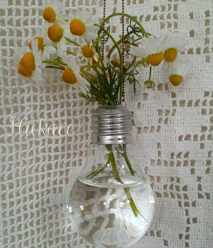 Ampul Vazo #ampul #vazo #geridonusum #diy #recycle #hukace #bulbvase