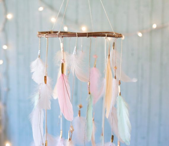Hey, I found this really awesome Etsy listing at https://www.etsy.com/listing/243847096/dreamcatcher-mobile-peach-pink-and-mint
