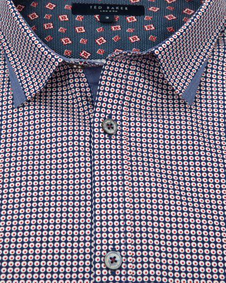 WHODOES - Circle printed shirt - Navy | Men's | Ted Baker UK