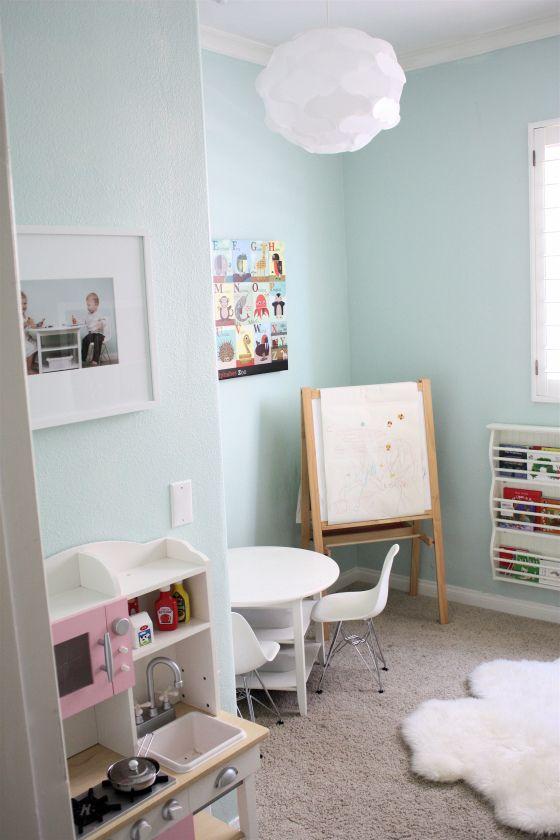 "https www.hometourseries.com garage-storage-ideas-makeover-302 - Valspar ""Gossamer Sky"" for Kitchen"