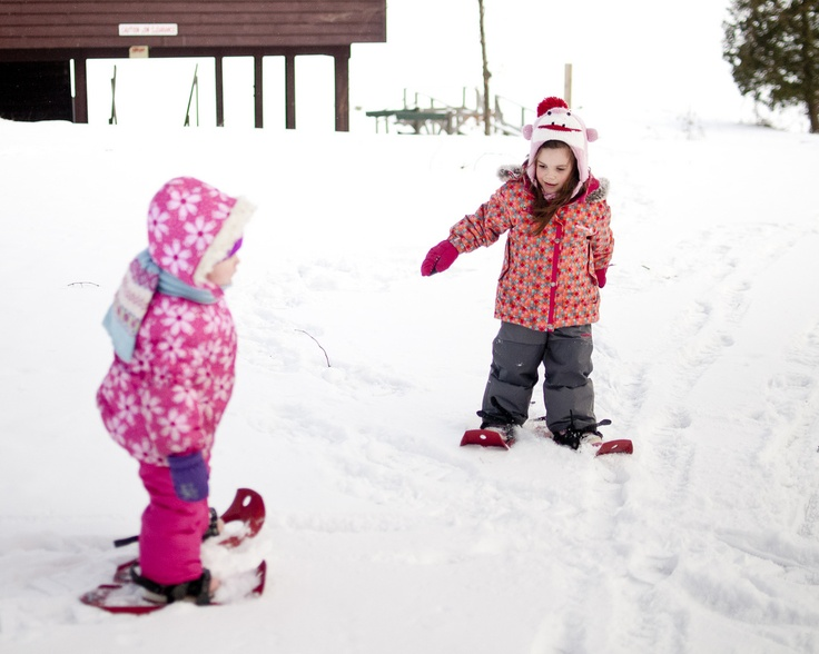 Snowshoeing at YMCA of Simcoe/Muskoka's Winterfest family camp on Lake Couchiching