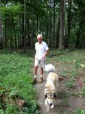 Chewy & Ryan walking in the Mt. Airy Forest