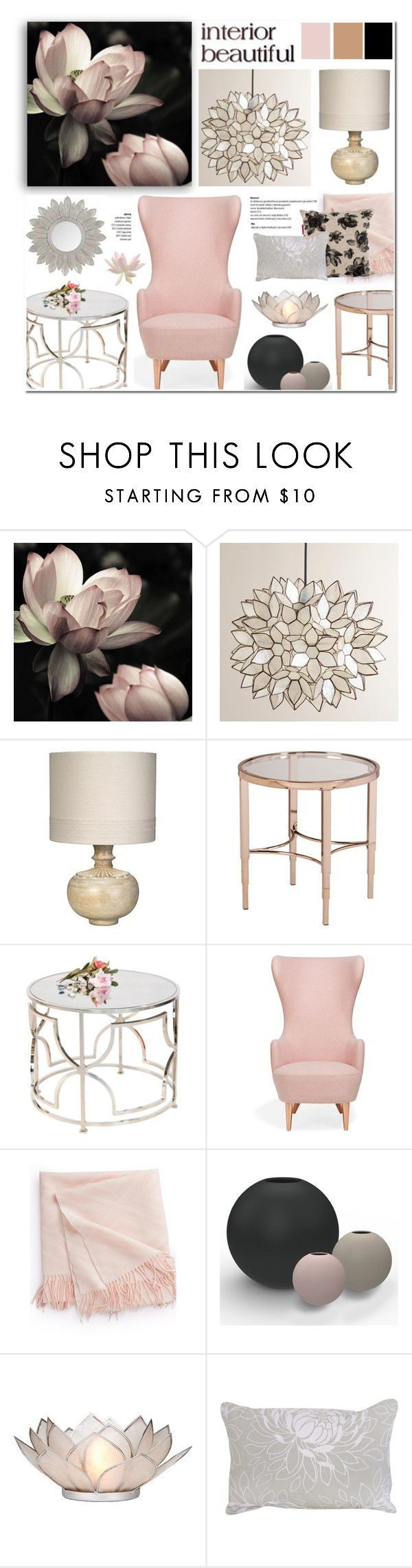 """Lotus inspired home decor"" by anyasdesigns ❤ liked on Polyvore featuring interior, interiors, interior design, home, home decor, interior decorating, Cost Plus World Market, Jamie Young, Worlds Away and Tom Dixon"