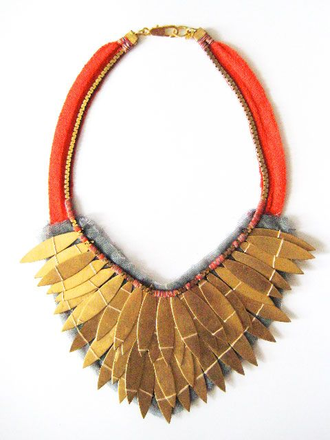 Lizzie Fortunato: Bold Necklace, Big Necklaces, Lizzie Lucky, Gold Leaf, Statement Necklaces, Fortunato Necklaces, Unique Necklaces, Orange Necklace, Tribal Necklaces