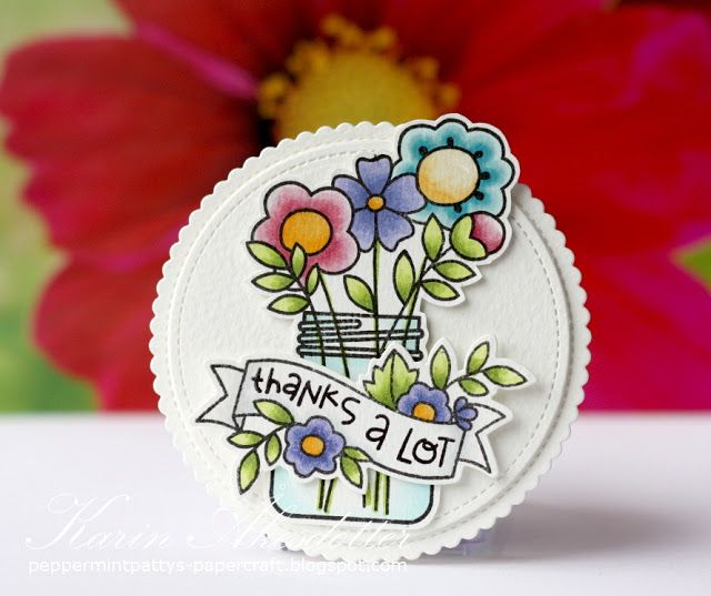 Round Card Thank You - Paper SmoochesFor more info: I share my creative projects here: https://www.instagram.com/peppermintpatty42/ and on my blog: http://peppermintpattys-papercraft.blogspot.se and on pinterest; https://www.pinterest.se/peppermint42/my-watercolors/