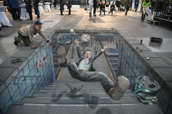 Julian Beever -Pavement drawings - 3D Illusions - A slight accident in a Railway Station in Zurich.